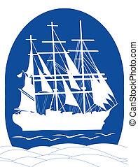Sail ship in ocean
