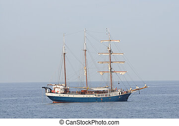 Sail ship in the sea