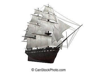 Sail Ship Isolated - Sail Ship isolated on white background....