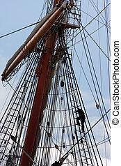 Sail ship mast - Sailors at masts of sail ship