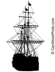 Sail ship - Silhouette of sailing ship on white background