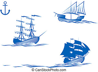 Sail ships - Set of sail ships isolated on white for design