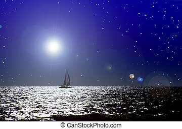 Sail to Nod - Sail boat against computer generated night sky...