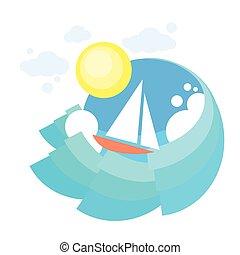 Sail Yacht Boat Sea, Icon Sailing Ocean Vaction Logo, Marine Trip