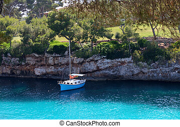 sail yacht in a beautiful sea lagoon