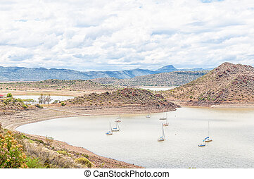 Sail yachts on the Gariep Dam