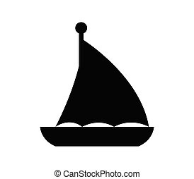 sailboat, ícone, fundo, ilustrado, vetorial, branca