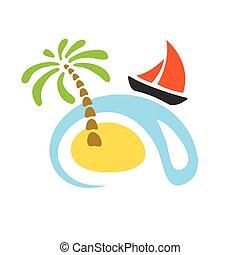 sailboat., île, exotique, vecteur, paume, mer, logo.