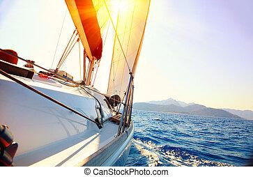 sailboat., 航海, yachting., ヨット, に対して, sunset.