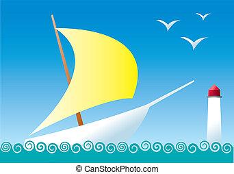 Sailboat - A sailboat with a bright yellow sail, sailing on...
