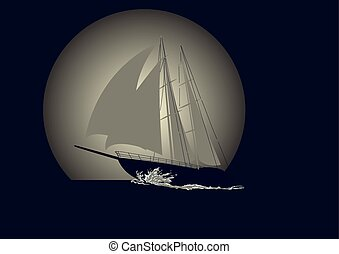 Sailboat against a background of the moon