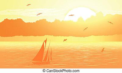 Sailboat against orange sunset.