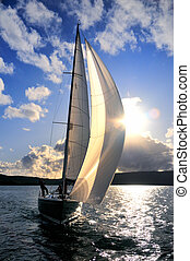 Sailboat against the sky - Sailboat in action against the...