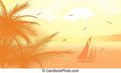 Sailboat against yellow sunset. - Vector illustration of...