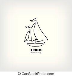 sailboat., aislado, mano, vector, plano de fondo, dibujado, blanco