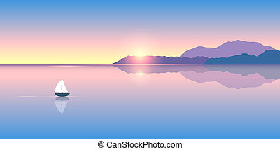 sailboat, amanhecer, só, pacata, mar