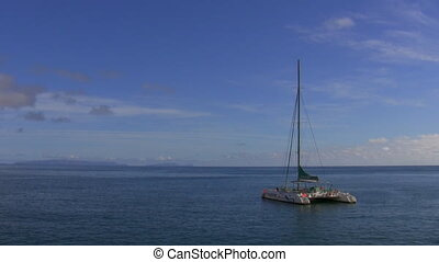 Sailboat anchored in the sea
