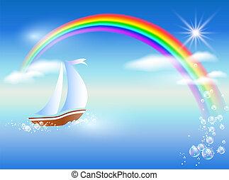 Sailboat and rainbow - Sailboat floats on the sea to rainbow...