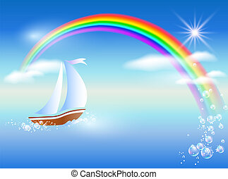 Sailboat and rainbow - Sailboat floats on the sea to rainbow...