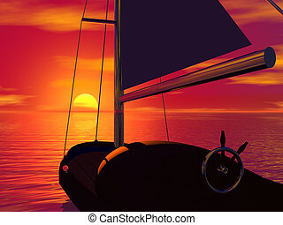 Sailboat and sunset. 3D rendered tropic scene.