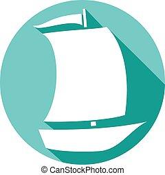 sailboat, apartamento, ícone