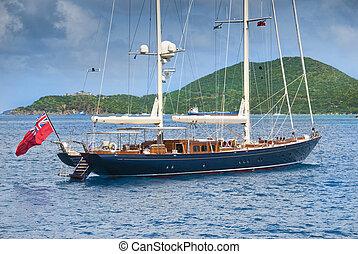 Sailboat at anchor in the caribbean