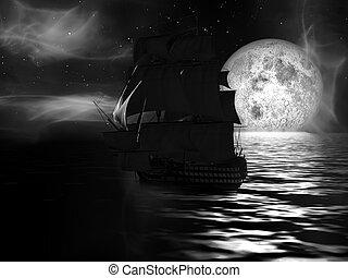 Sailboat at Moonlit Night