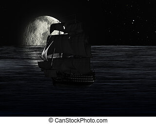 Sailboat at Night Moonlight