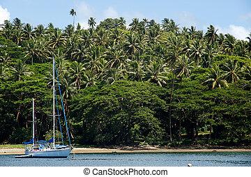 Sailboat at Savusavu harbor, Vanua Levu island, Fiji
