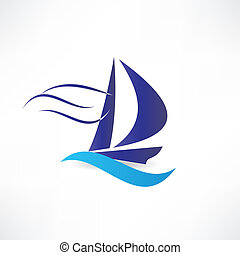 sailboat at sea icon