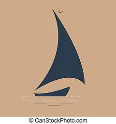 sailboat at sea seascape icon