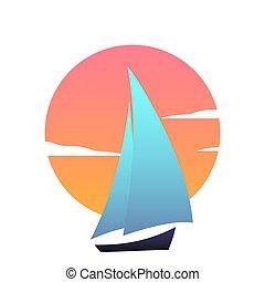 Sailboat at sunset. Ship modern vector icon.