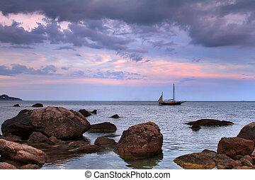 Sailboat at the sea
