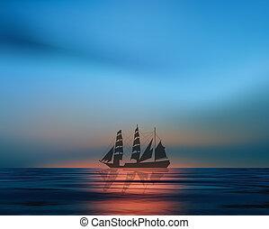 Sailboat at the sunset