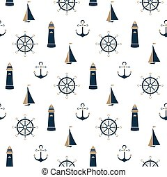 Sailboat, beacon, anchor, steering wheel seamless pattern.