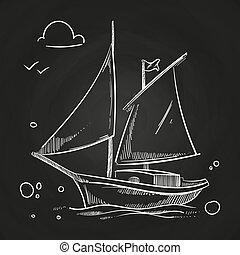 sailboat, blackboard., mão, vetorial, sketched, branca, oceânicos, doodle, bote
