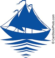 sailboat, branca, silueta, fundo