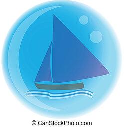 Sailboat - bubble logo