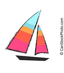 Sailboat Closeup Isolated Colorful Icon on White
