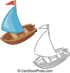 Sailboat. Coloring book