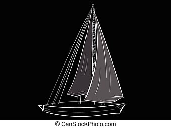 Sailboat contour - White contour of the sailing ship on a...