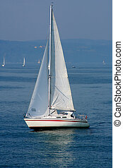 Digital photo of a sailboat on the sea called Bodensee between germany, switzerland and austria.