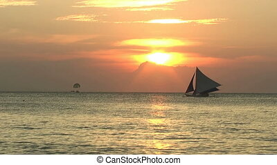 Sailboat during sunset time