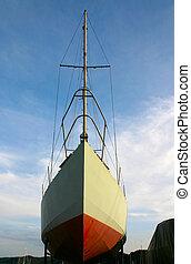 sailboat, em, doca