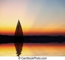 sailboat, em, pôr do sol