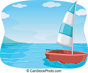 Sailboat - Illustration of a Sailboat Sailing in the Ocean