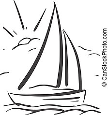 sailboat., eps8, hand, vektor, hintergrund, gezeichnet