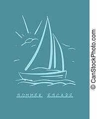 sailboat., eps8, mano, vector, plano de fondo, dibujado