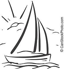 sailboat., eps8, ręka, wektor, tło, pociągnięty