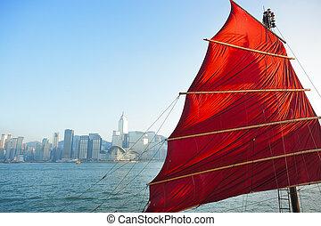 sailboat flag in Hong Kong harbor